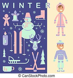 Set of winter kids clothes