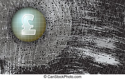 Vector abstract scratched background and pound sterling...