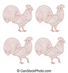 Creative stylized rooster set. Good for logo, tattoo, t-shirt design. Animal background. Vector illustration