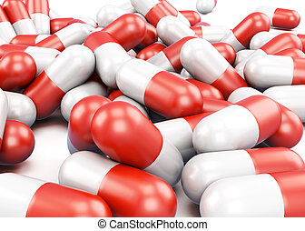 Red and white pills closeup. 3d rendering