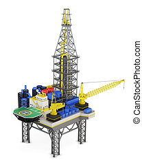 Industrial platform offshore isolated. 3d rendering.
