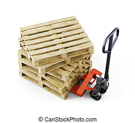 Euro pallets on a forklift isolated on white background. 3d rendering