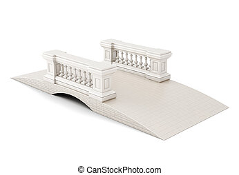 Bridge with a fence on white background. 3d rendering.