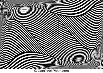 Op art wavy lines pattern. Abstract textured background....