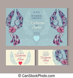 Set of invitation wedding cards with swans