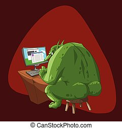 Fat internet troll - Colorful vector illustration of a fat...