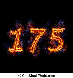 Fiery text \'175\'.