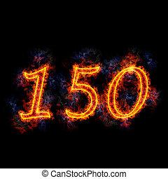 Fiery text \'150\'.