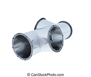 Pipe fitting isolated on white background. 3d rendering.