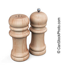 Set of  pepper mill and salt shaker isolated. 3d rendering.