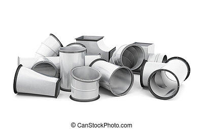 Pipe fittings isolated on a white background. 3d rendering.