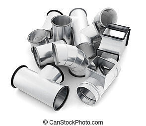 Duct fittings isolated on a white background. 3d rendering.