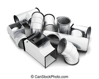 Steel pipe fittings isolated on a white background. 3d...