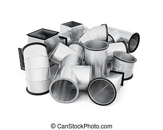 Stainless duct fittings isolated on a white background. 3d...
