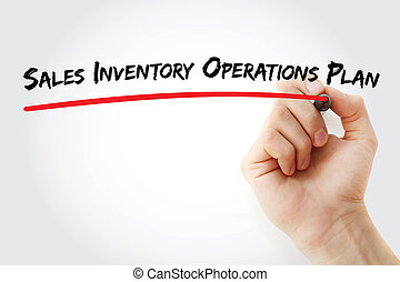 Hand writing Sales Inventory Operations Plan with marker,...