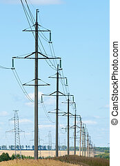Detail of electricity pylon against blue sky