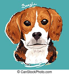 Beagle Painting Poster - A vector illustration of Beagle...