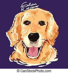 Golden Retriever Painting Poster - A vector illustration of...
