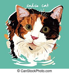 Calico Cat Painting Poster - A vector illustration of Calico...