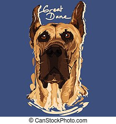 Great Dane Painting Poster - A vector illustration of Great...
