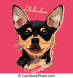 Chihuahua Painting Poster - A vector illustration of...