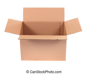 open cardboard box, photo on the white background