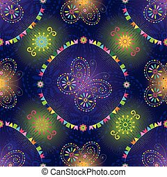 Bright seamless pattern with butterflies and colorful flags...