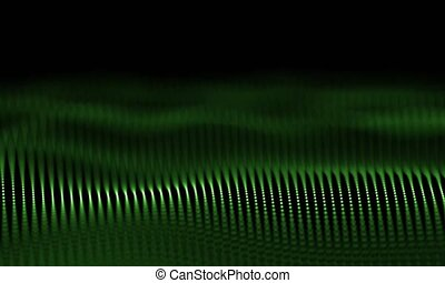 Futuristic Green Particles Wave Abstract Background -...