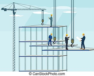 Hochbauen.eps - Construction building with Crane, workers...