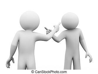 3d people fighting dispute - 3d rendering of man pointing...