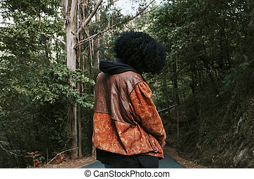 woman on the mountain road