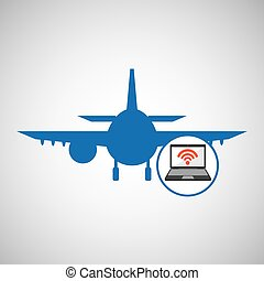 travel concept. connection internet hotel. silhouette blue plane