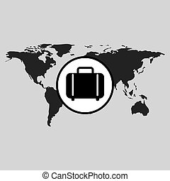 traveling world suitcase design graphic