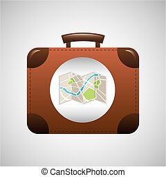 concept travel suitcase vintage and map design graphic -...