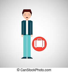 man cartoon concept travel and suitcase design graphic