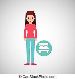 グラフィック, ホテル, ベッド, デザイン, 旅行者, 女の子, 漫画