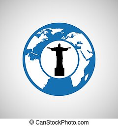 traveling world brazil monument design graphic - traveling...
