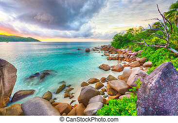 Anse Lazio - Beautiful sunset over the famous beach Anse...