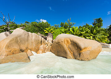 Anse Lazio - Beautiful and a famous beach Anse Lazio seen...