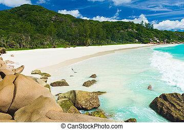 Anse Petite - Beautiful and a famous beach Anse Petite seen...