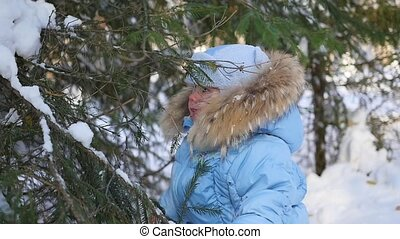 child throws off snow from tree branches in a sunny day -...