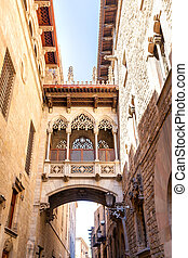 Bridge at Carrer del Bisbe in Barri Gotic, Barcelona. Gothic...