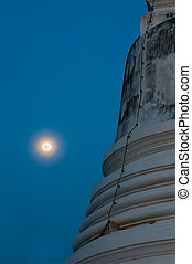 The stupa in the night during full moon