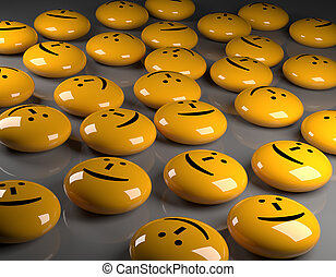 Happiness, 3d rendering - Many glossy yellow buttons with a...