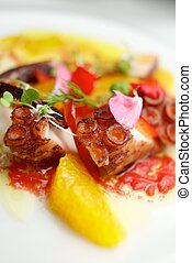 Octopus ceviche with citrus fruits.