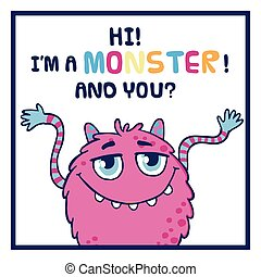 Cute monster illustration. - Cute monster vector...