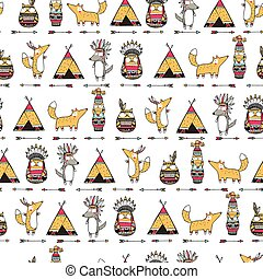 Pattern with american indian animals.