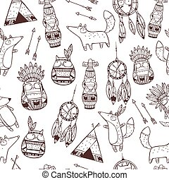 Vector pattern with indian elements.