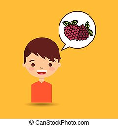 boy smiling cartoon with raspberry icon design
