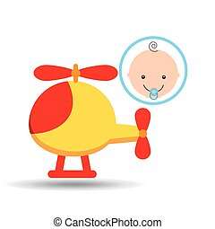 cute helicopter baby toy icon